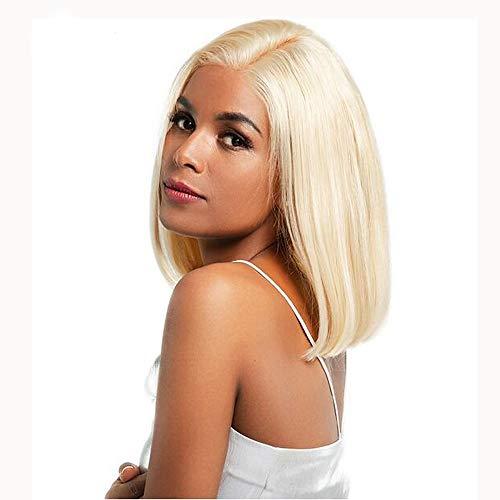 YHXQQM, Echthaar-Perücke, Bob-Nicki-Minaj-Stil, brasilianisches Haar, glatt, blond, 150% Dichte, 30,5-35,6 cm, für Frauen
