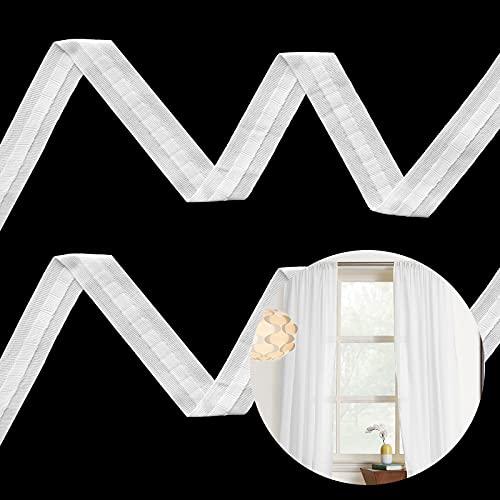 WIFUN Polyester Gardinenband, 28 m x 2.5 cm Gardinenband Kräuselband Universalband Falte Schlaufenband Weiß Faltenband Vorhang Reihband für gardinen