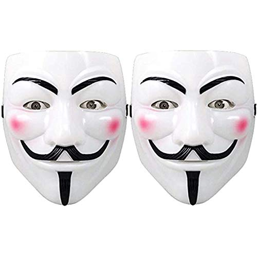 Hacker Mask for Costume Kids - V for Vendetta Mask Anonymous Guy Fawkes Masks for Halloween (2 Pack) White