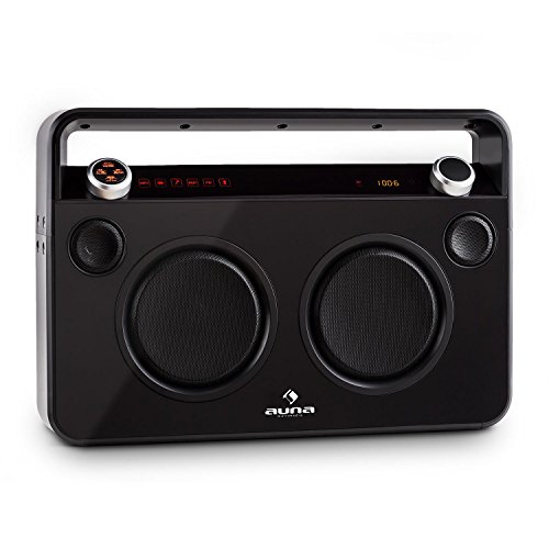 auna Bebop Ghettoblaster - Boombox mit Bluetooth, 2 Mikrofon-Eingänge, Multidmedia: kabelloses Musik-Streaming/UKW-Radio / MP3-fähiger USB-Port/AUX, 2-Wege-Lautsprecher, inkl. Akku, schwarz