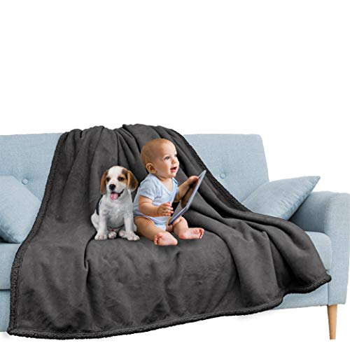 PAVILIA Waterproof Blanket for Couch, Sofa | Waterproof Dog Blanket for Large Dog, Puppy, Cat | Pet Blanket Protector | Plush Soft Warm Fuzzy Sherpa Blanket Bed Throw, Dark Grey, 60x80