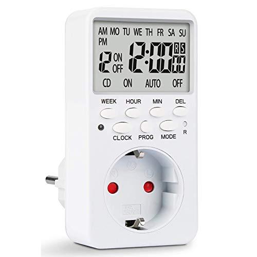 Zeitschaltuhr Steckdose Digital, Elektronische Zeitschaltuhr Steckdose mit Timer, HIBOER 20 konfigurierbaren Schaltprogramme, Elektronische Zeitschaltuhr Steckdose mit Reset-Tool, LCD Display