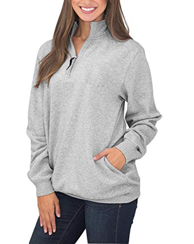 Diukia Women's Long Sleeves Collar Quarter 1/4 Zip Pullover Sweatshirts Casual Solid Hoodies with Pockets (S-2XL)