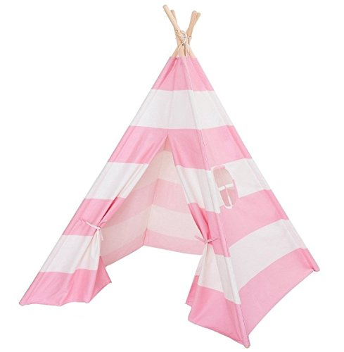 Best Teepee Tent for Kids with Window & Floor, Including Style Matching Accessories & Carrying Case — Great Kids Teepee for Indoor Playroom & Bedroom — Thick Pink Stripes - 1 Pack