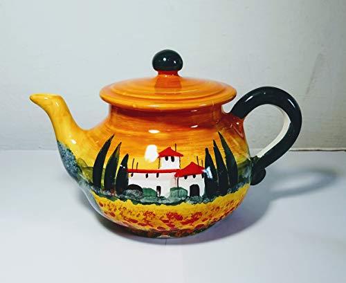 Toskanische Landschaft-Keramische Teekanne von Hand dekoriert,Größe cm 20,5 und hoch cm 13 in Italien,Toskana,Lucca.Erstellt von Davide Pacini
