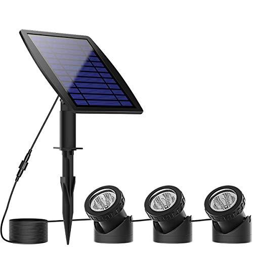 Luces Solares Estanques Exterior,KINGCOO Impermeable LED Solar Focos Seguridad Subacuática Luz Nocturna...