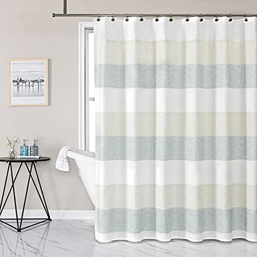 """Gray Tan Stripe Fabric Shower Curtain Water Resistant Color Block Stripe Print Bathroom Spa Hotel Decorative Shower Curtain Liner with 12 Grommets(Grey Green/Tan, 70""""x72"""")"""
