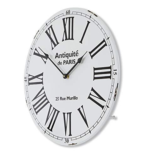 Loberon Uhr Temple, Eisen, H/B/T ca. 45/45 / 6 cm, weiß