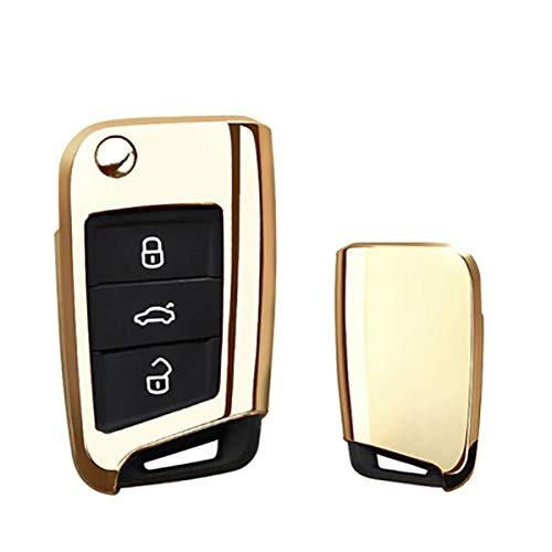 SDLWDQX Funda de TPU para llave de coche, ajuste para Volkswagen para VW TIGUAN Golf 7, ajuste para Skoda Octavia, accesorio de protección de llave automática, B, oro