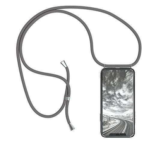 EAZY CASE Handykette kompatibel mit Apple iPhone X, iPhone XS Handyhülle mit Umhängeband, Handykordel mit Schutzhülle, Silikonhülle, Hülle mit Band, Stylische Kette mit Hülle für Smartphone, Anthrazit