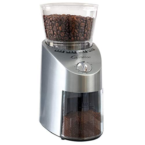 Capresso 565.05 Infinity Conical Burr Grinder Bundle with East Coast Blend and Coffee Measure (3 Items)