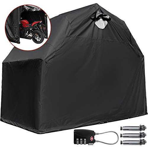 Mophorn Motorcycle Cover 106.'(L) x 41'(W) x 61'(H), Motorcycle Tent 600D Oxford Material Motorcycle...