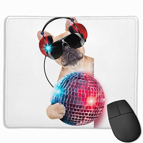 DJ Bulldog Escuchando música Divertida Alfombrilla de ratón con Bordes cosidos Alfombrilla de Escritorio Antideslizante Alfombrilla de ratón para Juegos