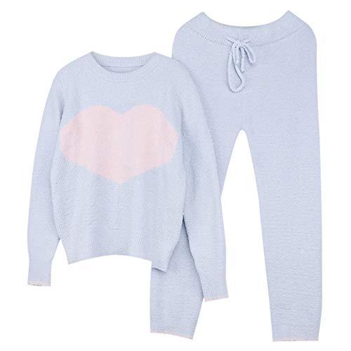 Pijamas de otoño e Invierno para Mujer, además de Terciopelo de Punto, Estampado de corazón cálido, Bonito Traje de Manga Larga a Rayas, Traje Exterior para el hogar