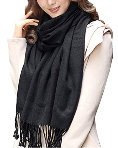 LOVEAI Bufanda de manta a cuadros para mujer, moda de invierno cálido a cuadros y abrigos