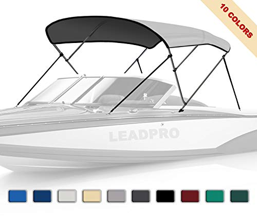 """Leadpro 10 Optional Colors 13 Different Sizes 3-4 Bow Bimini Top Boat Cover (Light Grey, 3 Bow 6'L x 46"""" H x 67""""-72"""" W)"""