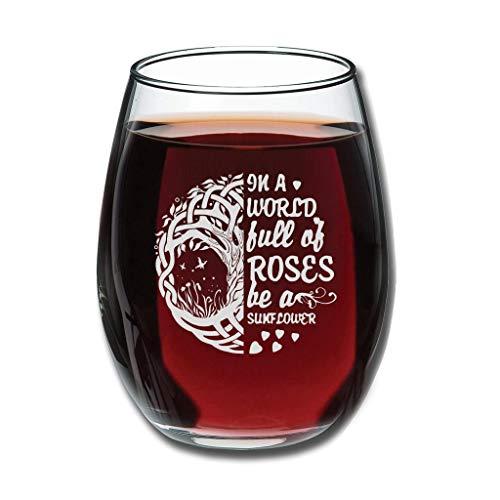 CATNEZA Grappig Libbey Wijnglas - In een wereld vol met permanent gegraveerde wijn Tumbler Nieuwigheid Gift Idee Voor Office Medewerker en Beste Vriend 12 oz