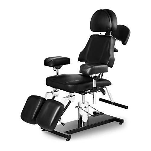 Physa Fauteuil De Tatouage Chaise Tatoueur Mobilier Salon Professionnel Hydraulique PHYSA DALLAS BLACK (200 kg, Acier, Similicuir, Pivotant, Réglable)