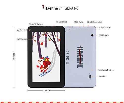 Haehne 7 Zoll Tablet PC, Google Android 9.0 GMS Zertifiziertes, HD Bildschirm, 1GB RAM 16GB ROM Quad Core, Zwei Kameras, Bluetooth, WiFi, Weiß