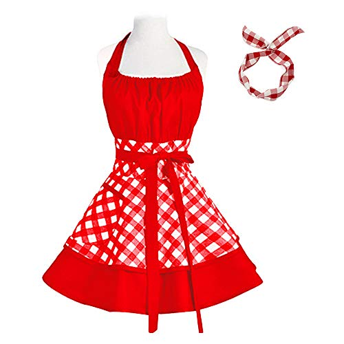Vintage Cute Women Cotton Cooking Plus Size Retro Bib Kitchen Apron with Extra Ties & Pockets 22×30 inch