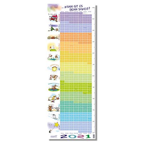 """Stikkipix Kinderzimmer Kalender 2021\""""Wann ist es soweit - Kalender für Kinder 2021 mit integrierter Maßtabelle/Maßband"""