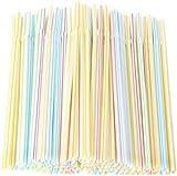 Opopark 300 Piezas Pajitas de Plástico, Pajitas Desechables a Rayas Multicolores sin BPA para el Hogar para Niños y Adultos