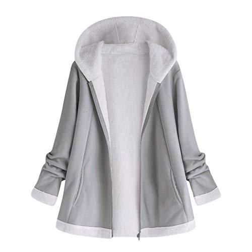 Cappotti da Donna Cappotto con Cappuccio Giacca Hoodies Manica Lunga Moda Cerniera Tasca Invernale (5XL,2- Grigio)
