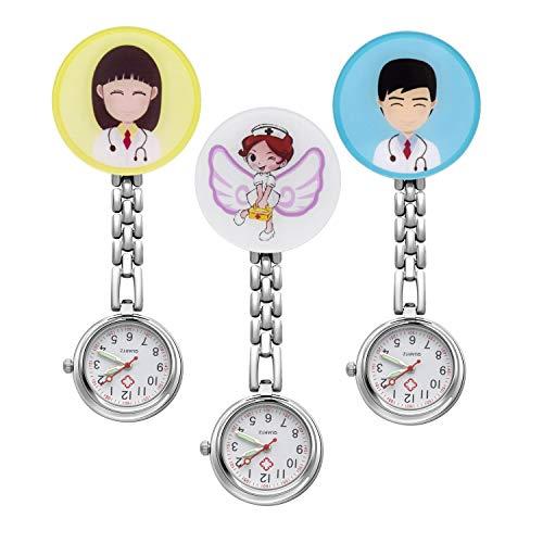 JSDDE Uhren Krankenschwesteruhr Set Pulsuhr FOB Uhr Pflegeruhr Krankenschwester Ärzte Muster Schwesternuhr Brosche Taschenuhr Analoge Quarzuhr (Set2(3 Stück))