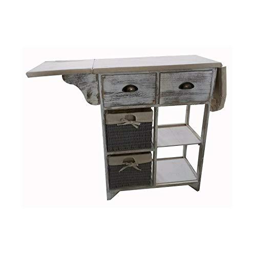 HTI-Line Bügeltisch Sola Bügeltisch Freistehendes Bügelbrett Hauswirtschaftsraum Bad Kombikommode Bügelschrank Vintage weiß
