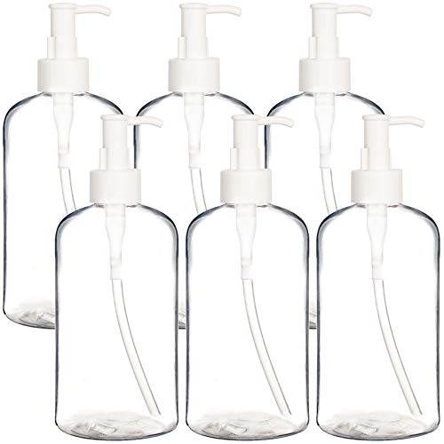 Youngever 6 Pack Plastic Pump Bottles 12 Ounce, Refillable Plastic Pump Bottles with Travel Lock (Clear)