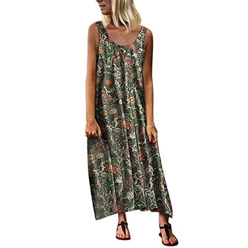 Xmiral Damen Bedrucktes ärmelloses Kleid, Einteiliges, Langes Kleid Mit Rundem Hals Lose Urlaub Strand Lange Kleider(Grün,XXL)