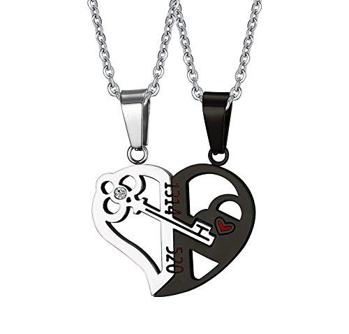 Vnox 2Love, ciondolo per collana da uomo o donna, a forma di cuore a incastro, con chiave interna, con catenina (lingua italiana non garantita), acciaio inox(A), cod. CN-059SB