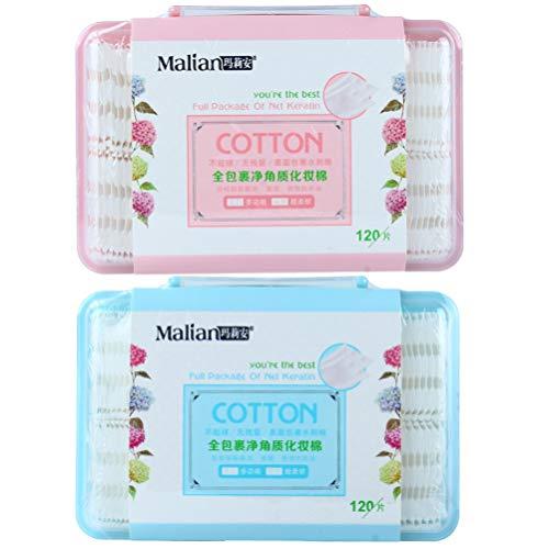 PRETYZOOM 2 Boîtes de Maquillage Coussin Facial Bouffée de Nettoyage Feuilletée Coton Tampons Démaquillant Outil de Soins Du Visage pour Le Voyage à Domicile