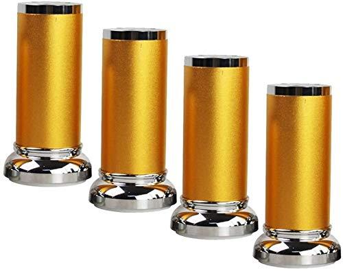SHOP YJX Patas para muebles, patas de mesa de té de aluminio, altura ajustable arriba y abajo, capacidad de carga de 800 kg, accesorios para muebles de bricolaje, 4 piezas (color: oro, tamaño: 15 cm)