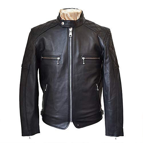 Goldtop Chaqueta de piel plana para motocicleta, color negro | blindada con botón CE Knox Microlock Armour extraíble (48 pulgadas)
