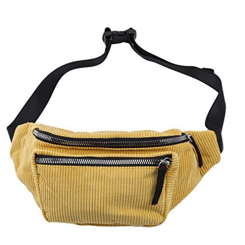 Yinew Cord Brusttasche Gürteltasche Mit Reißverschluss Mode Schulter Messenger Bags Handytasche Fanny Geschenk Für Frauen, Gelb