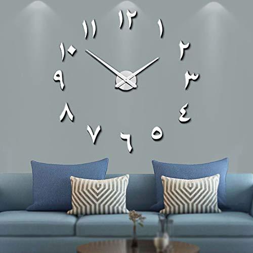 Mintime Mute DIY rahmenlose große Wanduhr arabische Ziffern 3D Spiegel Aufkleber Home Office Dekorationen (Silber)