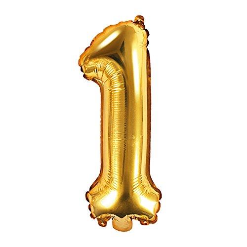 DekoHaus Folienballons Buchstaben / Zahlen Höhe 35 cm Farben: Gold oder Silber (1, Gold)