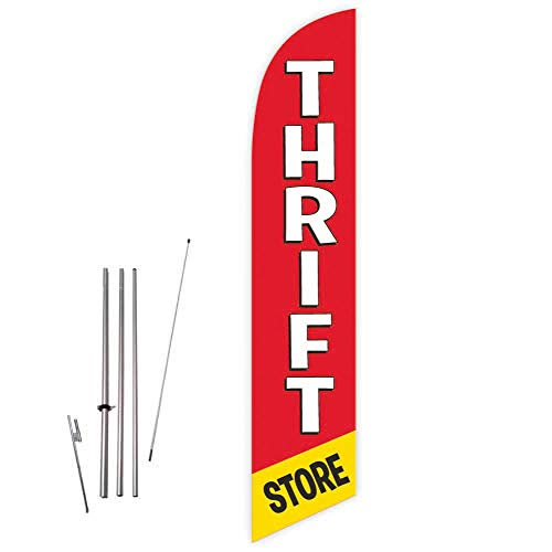 Cobb Promo Thrift Store (Red) Feather Flag with Complete 15ft Pole kit and Ground Spike