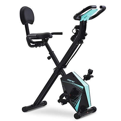 Bicicleta plegable con pantalla LCD, altura ajustable y bandas de resistencia para entrenamiento en interiores
