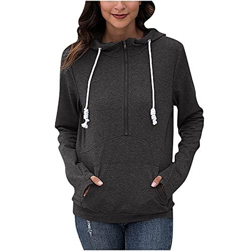 Wave166 Sudadera con capucha para mujer, de un solo color, informal, con cordón, con cremallera y bolsillo, para otoño, chaqueta fina para uso diario, gris, S
