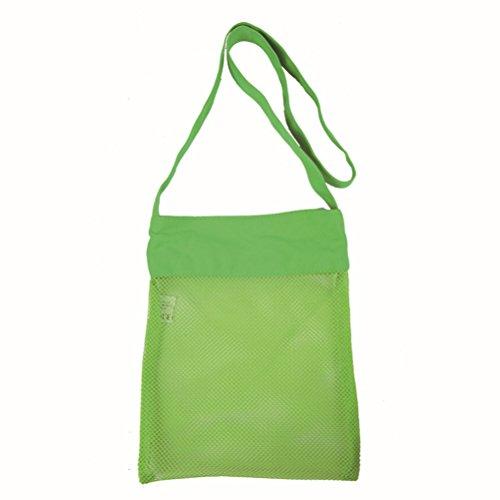 WINOMO Sac à bandoulière en filet de plage avec sable Sac à bandoulière avec sac en coquille pour piscine à la plage Bateau familial pour enfants (vert)