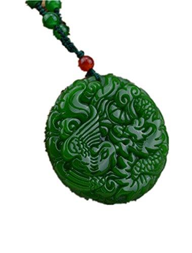 yigedan Anhänger aus natürlicher grüner Jade, Phönix-Drache, Amulett