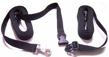 DOGS and MORE - Laisse extensible avec dragonne amovible – Base de 5 m (noir; 25 mm de large)