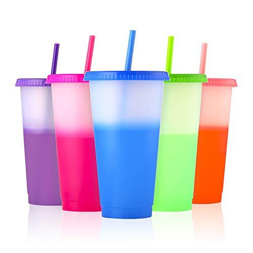 Farbwechsel Becher - 710ml Plastikbecher Trinkbecher mit Deckel & Strohhalm - 5 Stück BPA Frei Wiederverwendbar Durchsichtig Kaffeebecher to Go Reisebecher Tasse Plastik Cup für Kinder Erwachsene