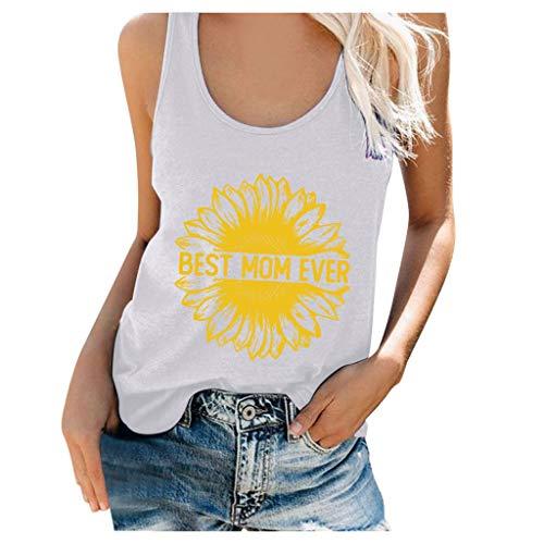 TOFOTL 2020 Trachtenbluse, Frauen Plus Size Summer Sunflower Print Rundhalsausschnitt Ärmelloses T-Shirt Top Tank