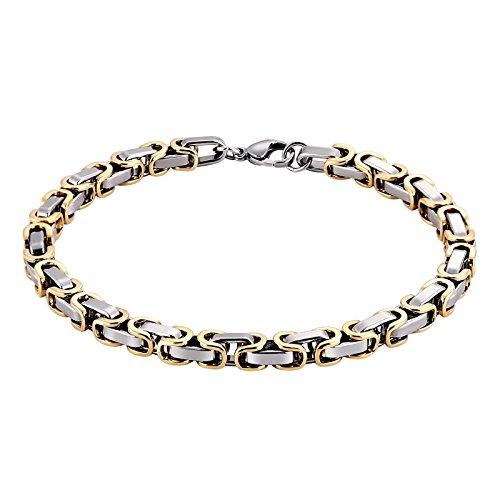 AmDxD Schmuck Edelstahl Armband Herren Bicolor Byzantine Chain Königskette Silber Gold 23.3CM