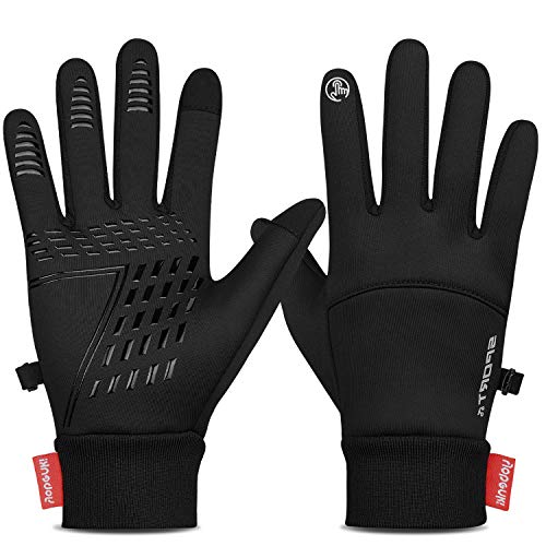 Yobenki Winter Gloves for Men Women Cycling Gloves Anti Slip Touch Screen Gloves Cold Weather Gloves Windproof Waterproof Winter Warm Gloves for Running,Cycling,Biking,Driving,Hiking (Black, Small)