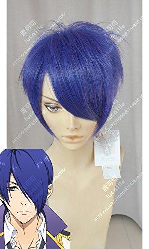 Super Herz Renaissance Tintenpalast Aoi Long Liu Hai Verdicktes Kurzes Haar Blau Lila Cosplay Perücke