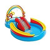 Ljourney Castillo inflable, piscina para niños, centro de juegos hinchable con dinosaurios, piscina hinchable para niños, pesca Fun Play Center con 6 bolas de colores incluidas